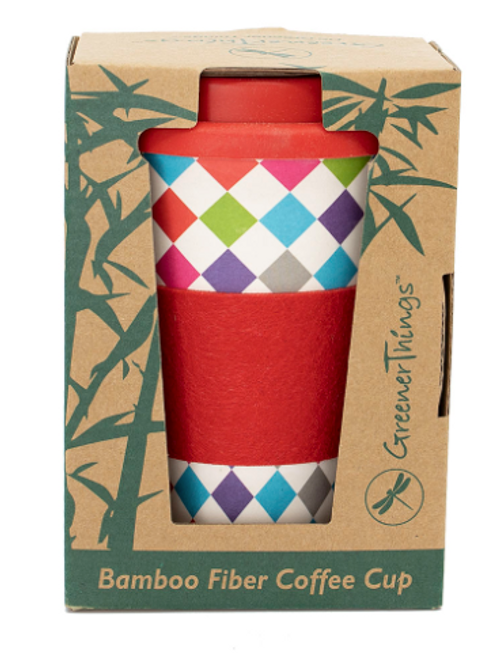 MUG, BAMBOO FIBER TRAVEL CUP, Greener Things - 15 oz cup with lid