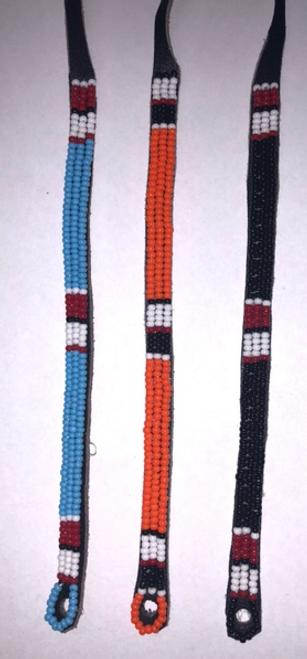 BRACELET, MAASAI BEAD- LEATHER WRAP- Assorted Colors