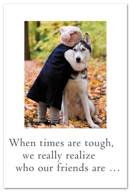 Card  many occasions  girl hugging husky  Cardthartic