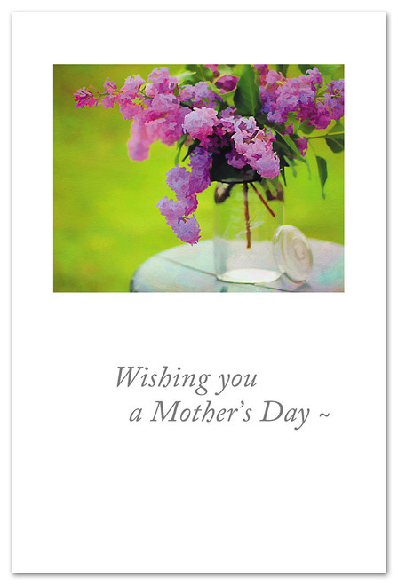 Card Mothers Day pink lilacs in jar   Cardthartic