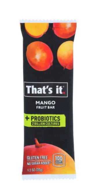 FRUIT BAR, PROBIOTIC, Mango, That's it, 1.2 oz