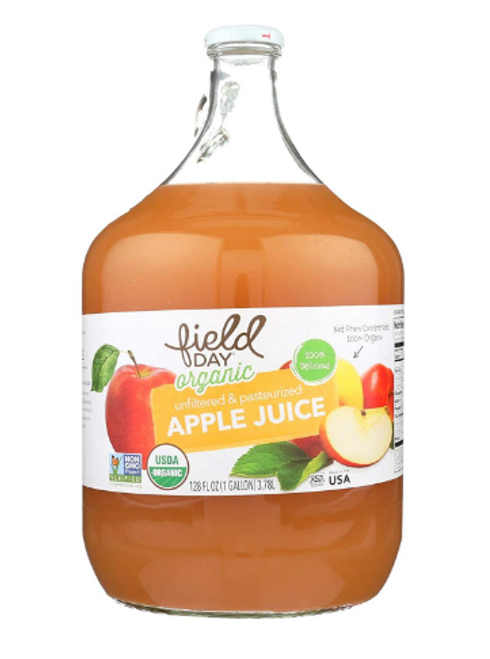 APPLE JUICE, Organic, 1 gallon, Glass Bottle