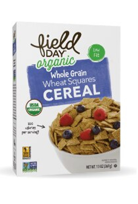 CEREAL,  WHEAT SQUARES, Organic Field Day - 13 oz box