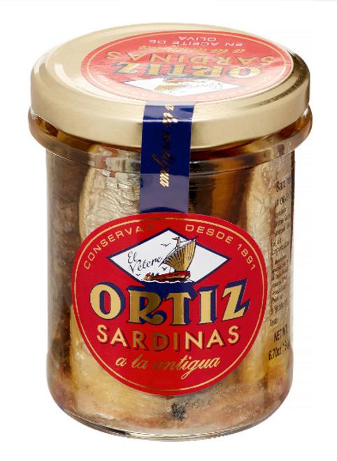 SARDINES IN OLIVE OIL, ORTIZ - 6.7 oz Glass Jar