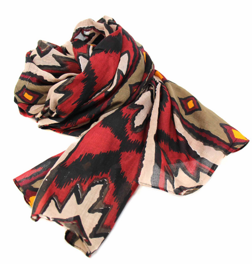SCARF, COTTON, Global Crafts - IKAT DIAMOND- REDS AND YELLOWS