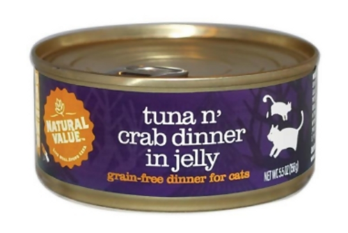 CATFOOD, TUNA N' CRAB IN JELLY, Natural Value, 5.5 oz