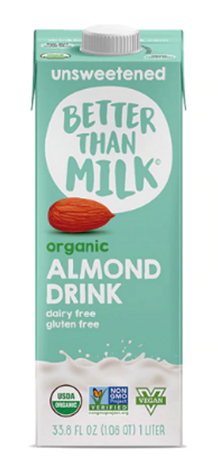 ALMOND DRINK, Unsweetened, Organic, Better Than Milk, 33.8 fl oz