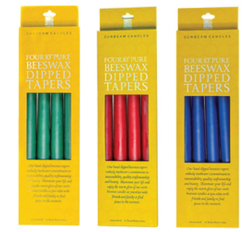 """CANDLE, TAPERS, BEESWAX, 10"""", Sunbeam, 4 pack"""