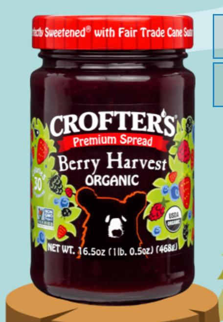 JAM, BERRY HARVEST Spread Organic Crofters - 16.5 oz GLASS JAR
