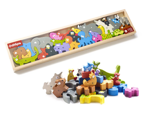 PUZZLE/PLAYSET, ANIMAL PARADE - A-Z - BeginAgain, each