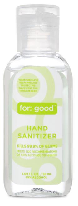 HAND SANITIZER GEL, 75% ALCOHOL, For Good - 1.69 oz plastic bottle Reg. $2.99