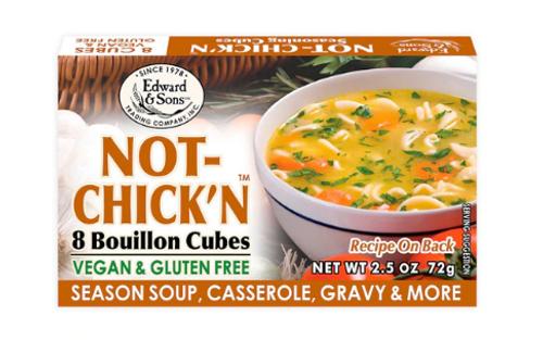 BOUILLON CUBES, NOT-CHICK'N, VEGAN, Gluten-Free, Low Salt, Edward & Sons, 2.5 OZ *SALE* REG $3.75