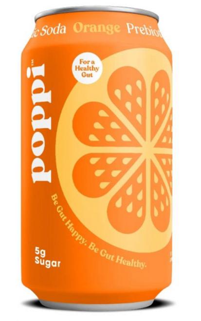 SODA, ORANGE, PREBIOTIC. Poppi - 12 fl oz can