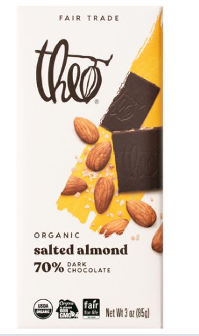 BAR, DARK CHOCOLATE SALTED ALMONDS, ORGANIC, Theo - 3 oz bar
