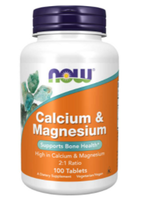 CALCIUM AND MAGNESIUM, 500/250 mg, NOW Foods - 100 Tabs