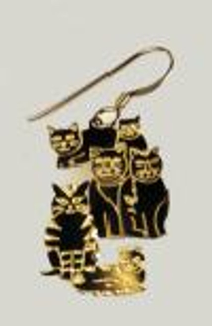 EARRINGS, CATS, GOLD, GOOSE POND