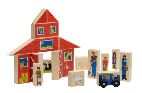 BLOCKS, FARM PLAY SET, Maple Landmark - 21 piece set