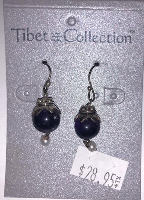 EARRINGS, AMETHYST LOTUS, Tibet Collection
