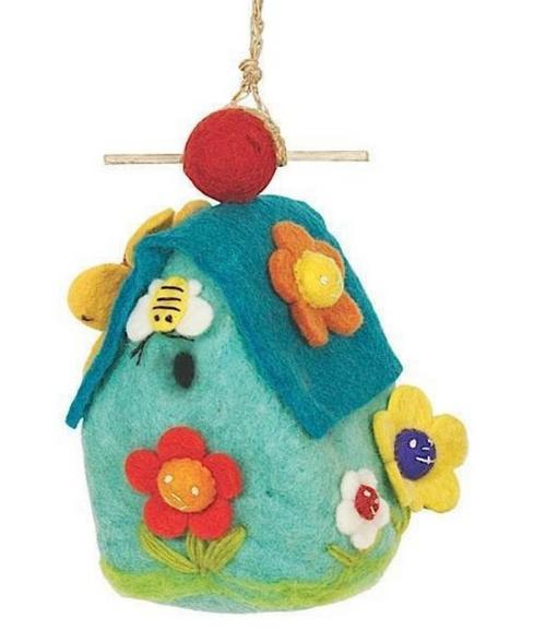 BIRD HOUSE, FLOWER HOUSE Felt, Wild Woolies - 1 birdhouse