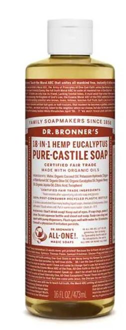 SOAP, LIQUID CASTILE EUCALYPTUS HEMP, Organic Dr. Brooner's - 16 FL OZ