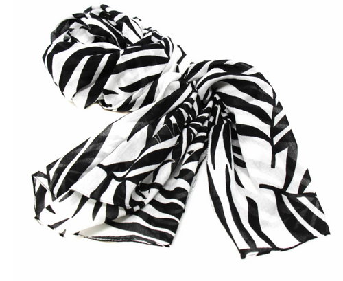 SCARF, COTTON, Global Crafts - BLACK/WHITE LEAVES