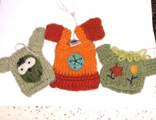 DOLL CLOTHING, Sweaters, Orange, Green Owl, Green with Flowers