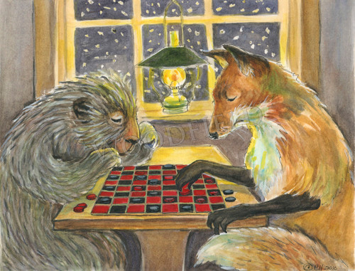 Two friends (porcupine and fox) playing checkers on a snowy day.