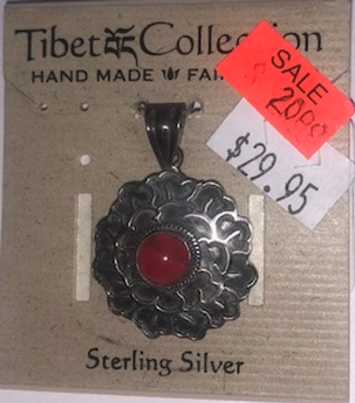 PENDANT, *SALE* STERLING PINK STONE- EACH