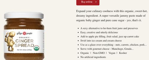 SPREAD, GINGER Organic, 8.5 OZ