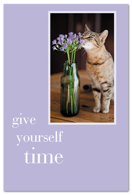 CARD, CAT SMELLING FLOWERS  Cardthartic