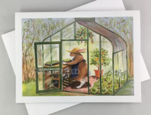 CARD, rabbit in greenhouse