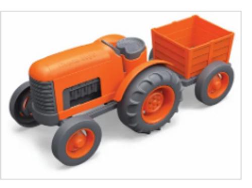 *SALE* ORANGE TRACTOR W/ WAGON, Green Toys - REG $20