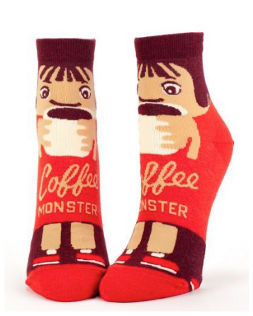 ANKLE SOCKS, Women's COFFEE MONSTER, Size 5-10