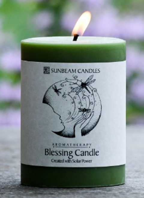 CANDLE, BLESSING BEESWAX CANDLE, 3X4 inch PILLAR
