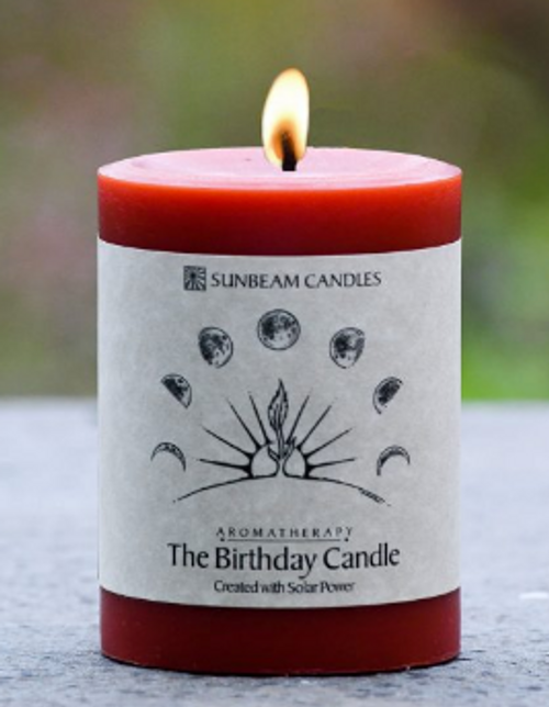 CANDLE, BIRTHDAY BEESWAX CANDLE, 3 x 4 inch PILLAR