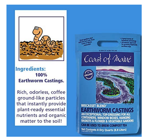 EARTHWORM CASTINGS, Wiscasset Blend, 8 dry quarts