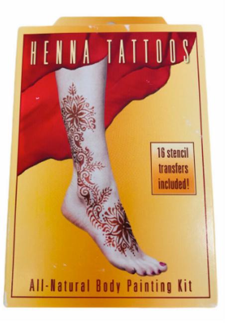 HENNA TATTOOS, CLASSIC KIT, Earth Henna, 16 STENCILS