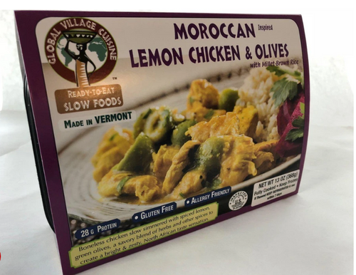 DINNER, LEMON CHICKEN with MILLET-BROWN RICE, Global Village Cuisine,  13 oz