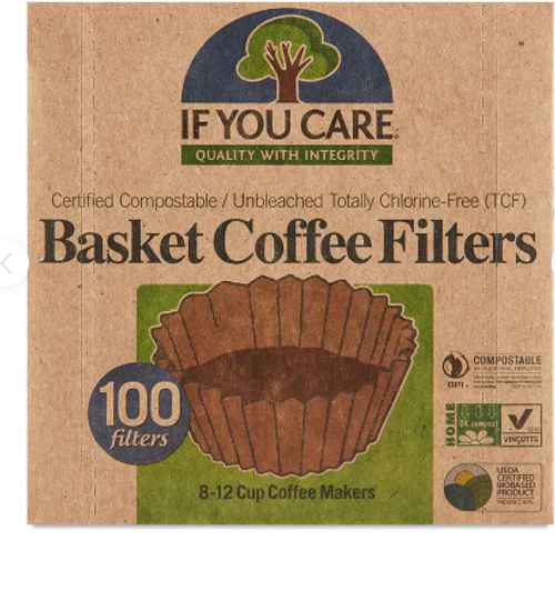 BASKET COFFEE FILTERS, 8-12 cup maker, If You Care    100 filters