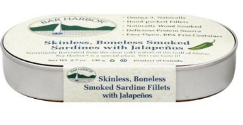 SARDINES, SKINLESS, BONELESS SMOKED W/JALAPENOS, Bar Harbo -  6.7 OZ