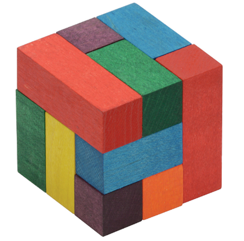 COLOR CUBE (Soma) Puzzle, Maple Landmark - Each