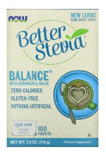BETTER STEVIA BALANCE SWEETENER, NOW FOODS, 100 PACKETS