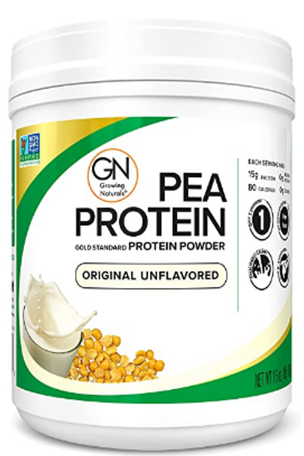 PEA PROTEIN, powdered Natural- Growing Naturals - 16 oz