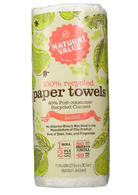 PAPER TOWELS, (1) WHITE Recyc, 80 ct, NAT VAL