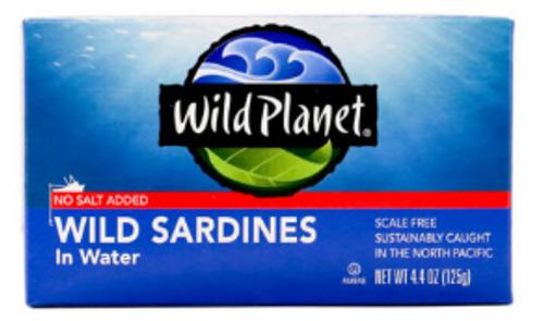 SARDINES IN WATER No Added Salt, Wild Planet, 4.4 oz