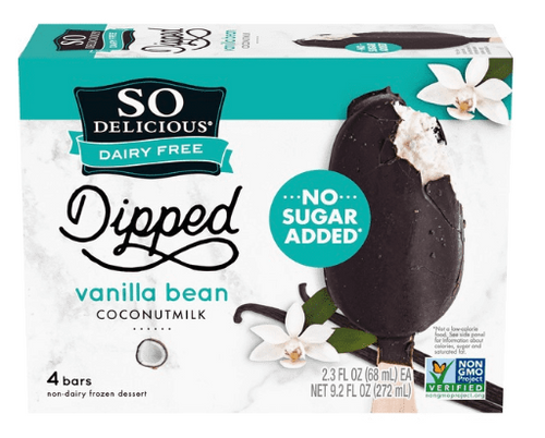 FROZEN DIPPED VANILLA BARS, No Sugar Added, Non-dairy, NSA SO DELICIOUS, 4-PK