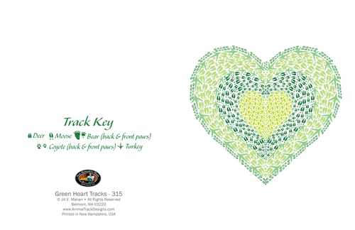 CARD ANIMAL TRACKS GREEN HEART