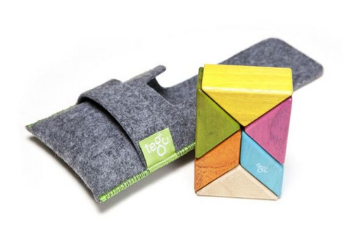 MAGNETIC WOODEN BLOCKS, POCKET POUCH PRISM: TINTS, Tegu - 6 pieces and felt pouch
