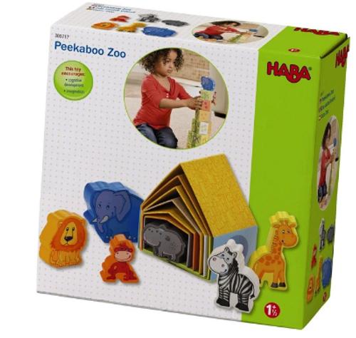 STACKING TOY, PEEKABOO ZOO, Haba - 12 pieces (6 blocks and 6 animals)