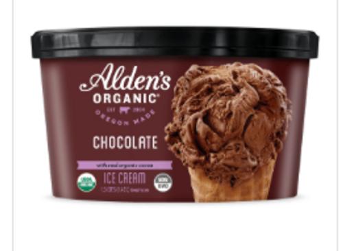 ICE CREAM, CHOCOLATE Organic, Alden's, 48 OZ